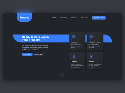 SaasTribe Landing Page minimal ux design ui design design dark theme dark mode saas design saas saas landing page saas website