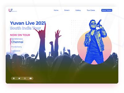 Concert Landing Page - Concept duotone color u1 yuvan tamil illustrator web design layers gradient design gradient landing page concert