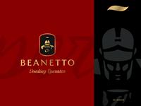 Beanetto identity design vending animation art mysterious warrior shield legionary coffee armor branding brand identity symbol mark logotype logo design russia