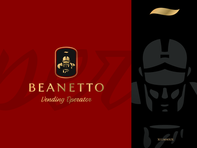 Beanetto identity design vending animation art mysterious warrior shield legionary coffee armor branding brand identity symbol mark logotype logo design russia