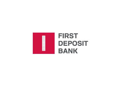 First Deposit Bank branding brand identity symbol mark logotype logo design 1 coin first square bank leader principal fundamental clear crack logoped russia