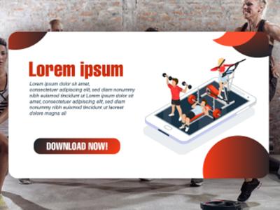 Fitness Company App Banner Ad ux. ui design isometric