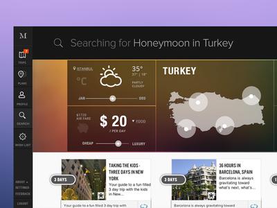 Trip Search Dashboard travel search cards dashboard sidebar