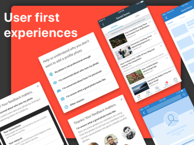 User first experiences wireframes user first saved profile mobile app linkedin