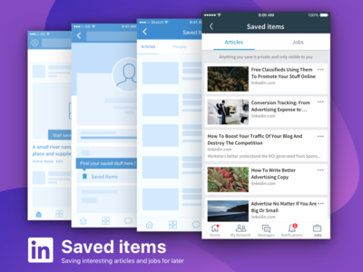 Saved Items on Linkedin linkedin wireframe mobile saved