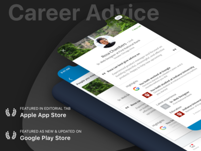 Linkedin Career Advice - Editorial Mentions dark play store advice ux isometric iphone app store