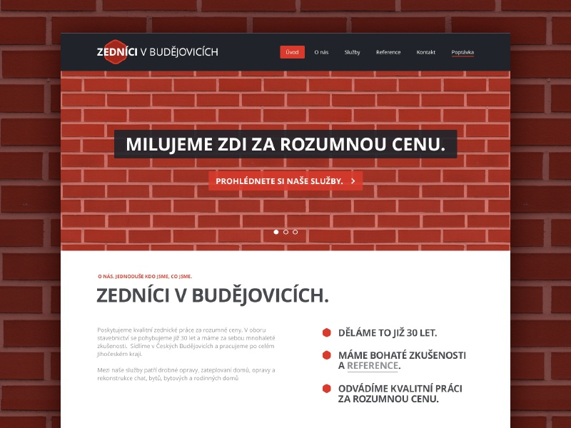 """We love walls for a reasonable price"" design project client landing landing page homepage czech web website webdesign microsite mason masonry service responsive rwd"