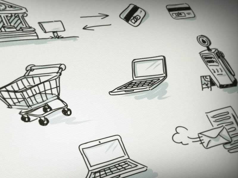 Doodle Icons icon doodle vector computer shopping cart laptop card credit card bank gas gas station mail server