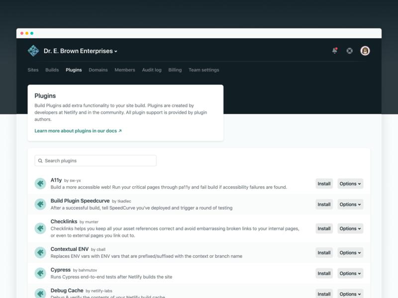 Netlify Build Plugins: App UI plugin netlify app ui design