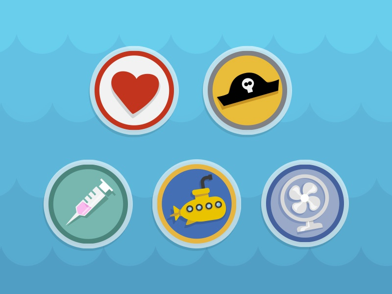 Badges badge icon mobile game app addicted fan submarine flat gamification pirate