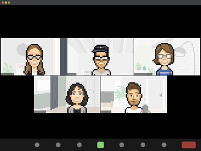 Weekly Design Sync design team remote work remote video conference zoom pixelified pixelated pixel art illustration