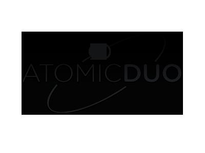 Beauty & Brains logo black-and-white bw atomic duo duality atom retro gotham rounded venn diagram creative agency brand identity