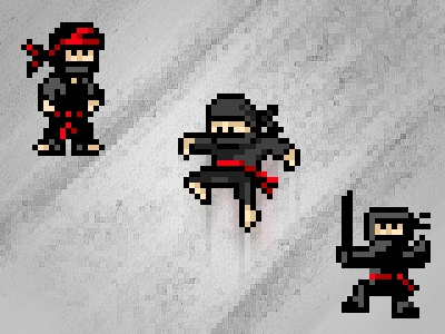 Pixel Ninja Warriors pixelart pixels pixelified pixelated ninja warrior sword action black