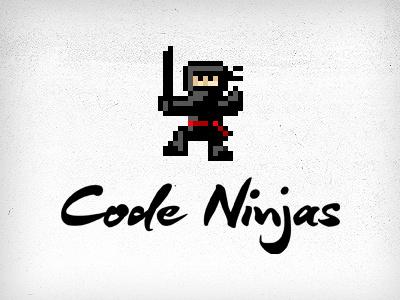 Code Ninjas pixelart pixel ninja pixels pixelified pixelated ninja warrior sword action black logo logotype identity