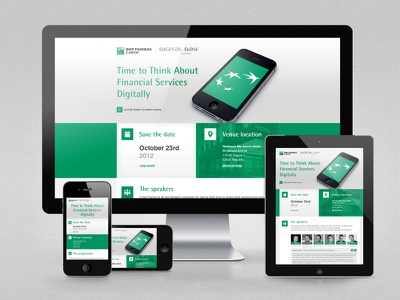 Digital Day microsite responsive responsive design parallax scrolling iphone ipad desktop bnp paribas green conference microsite cardif solid colors single page one page minimalism ios webpage