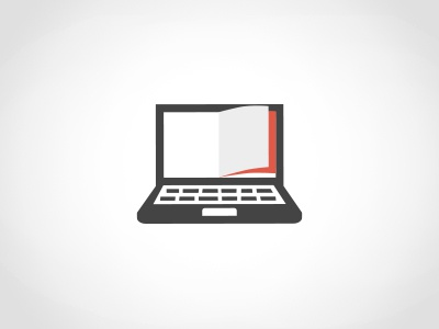 """""""Head in books, fingers on keyboard."""" logo identity concept symbol icon glyph laptop keyboard book page idea black action sword warrior ninja pixelated pixelified pixels white red"""