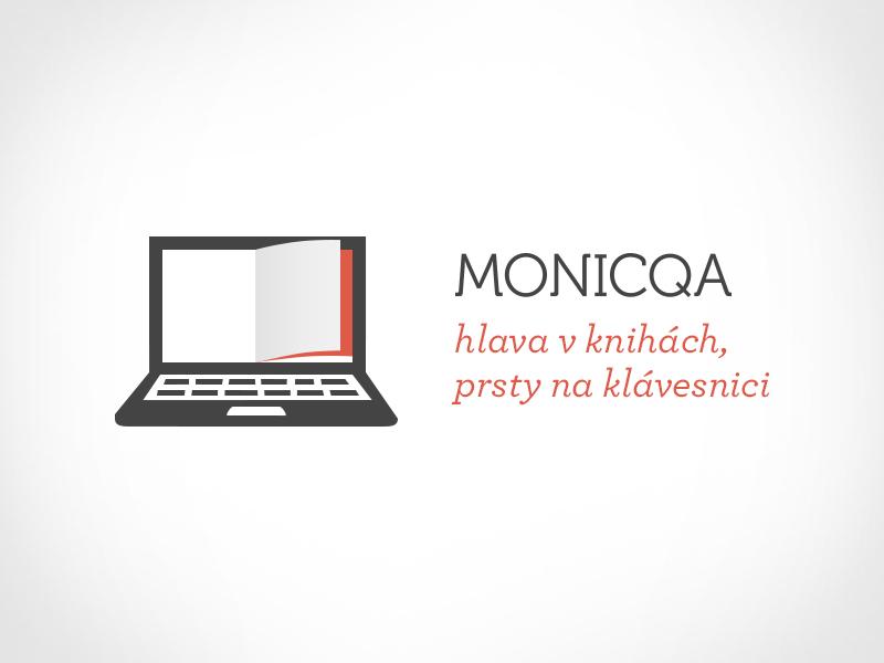 Monicqa logo logo identity concept symbol icon glyph laptop keyboard book page idea woman blogger copywriter branding