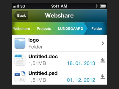 Webshare UI ui interface ios iphone design green blue icons files file icons filetype download web app