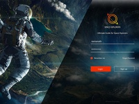 Login screen for space explorer