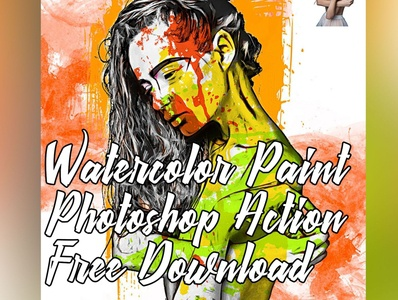 Abstract Mixed Watercolor Photoshop Action result sketch photoshop watercolor drawing vector logo artistic free branding illustration art photo design