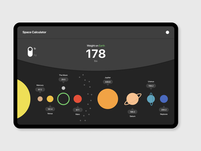 Space Weight Calculator [DailyUI 004] design dailyui 004 calculator ux uiux uidesign ui dailyui 100daychallenge