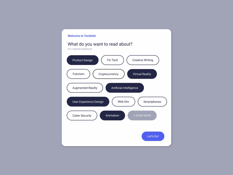 Pop-up / Overlay for a tailored tech newsletter! [Daily UI 016] form design user experience figma newsletter overlay pop up dailyui ui ux