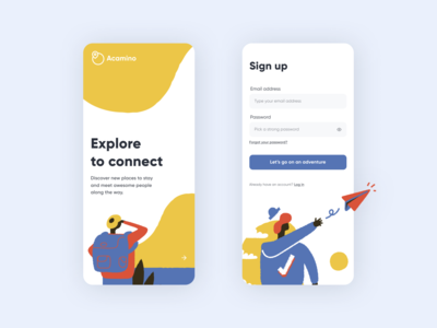 Explore to Connect (Daily UI #1) traveling camping ui design playful log in onboarding splash screen sign up design dailyuichallenge dailyui