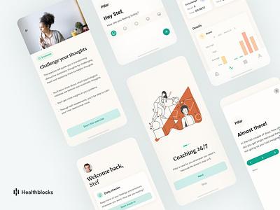 Pillar onboarding cards conversational ui healthcare mental health awareness health mobile app design