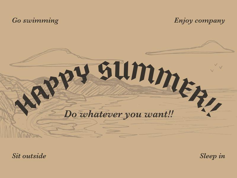 Happy Summer pacific northwest pnw oregon doodle illustration vector summer