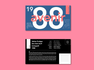 Avenir Postcard postcard avenir typeface typography