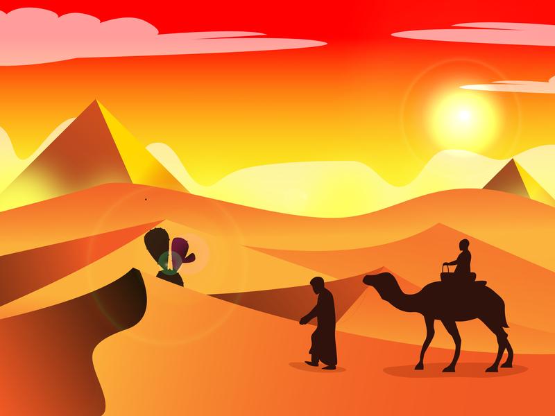 Desert desert flatdesign flat landscape design landscapes design illustration art sun landscape illustraion