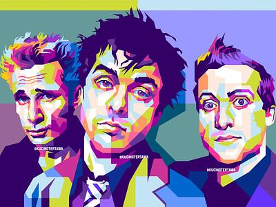 Green Day in WPAP colorful art colourful band rock popular vector vector art portrait pop art illustration popart
