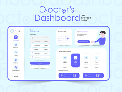 UX UI Design of a Doctor's Dashboard Website illustration app icon web ui web design design ui ux adobe illustrator adobe xd