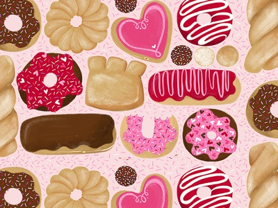 Valentine's Day Donuts repeat pattern design art licensing sprinkles repeat pattern surface pattern design valentines valentine food doughnut donut donuts cute illustration