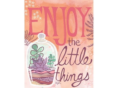 Enjoy The Little Things editorial illustration flowers succulents plants enjoy drawing nature quote editorial art licensing illustration lettering typography
