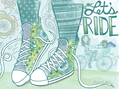 Let's Ride editorial illustration painting flowers people bike shoes lets ride drawing quote editorial illustration lettering typography