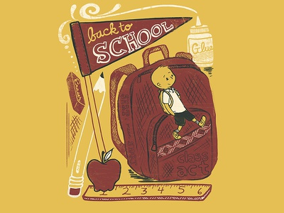 Back To School editorial illustration vintage kids pencil apple people back to school drawing quote editorial illustration lettering typography