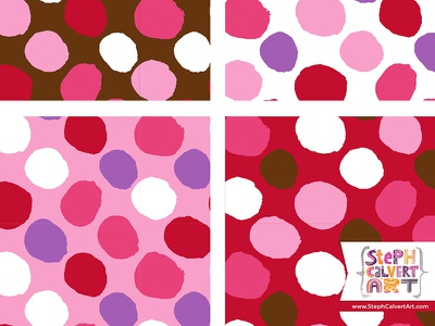 Valentine's Day Repeat Patterns - Big Blobby Polka Dot Pattern colorways collection licensing love red pink valentines day surface pattern design painting paint illustrator pattern