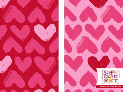 Valentine's Day Surface Pattern Design - Brushy Painted Hearts hearts colorways collection licensing love red pink valentines day surface pattern design hand painted illustrator pattern