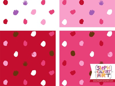 Valentine's Day Hand Painted Pattern -  Little Brushy Polka Dots colorways collection licensing love red pink valentines day surface pattern design painting paint illustrator pattern