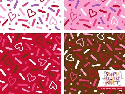 Valentine's Day Repeat Patterns - Hearts and Sprinkles Party hearts sprinkles collection licensing love red pink valentines day surface pattern design drawing illustrator pattern
