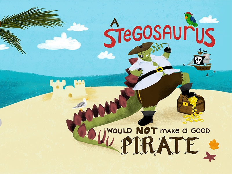 Create A Children S Book Cover : A stegosaurus would not make good pirate children s book