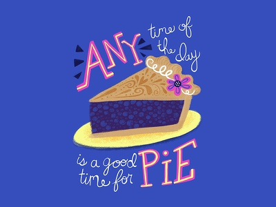 Good Time For Pie - Pulp Fiction Pi Day Greeting Card flower humor colorful fan art pulp fiction card illustration lettering type typography food