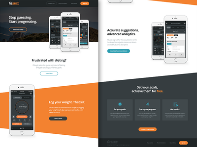 Fitness App Home Page web home page homepage fitness app marketing design interface ux ui website