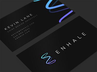 Enhale Brand Identity cards card business pure clean waves air e icon design branding logo