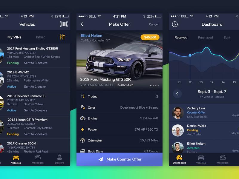 VinSwitch Highlights car dashboard car dealer car car app mobile app interface ux ui design