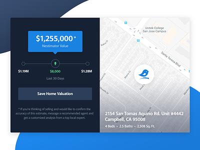 Home Valuation Component widget component real estate app web website interface ux ui design