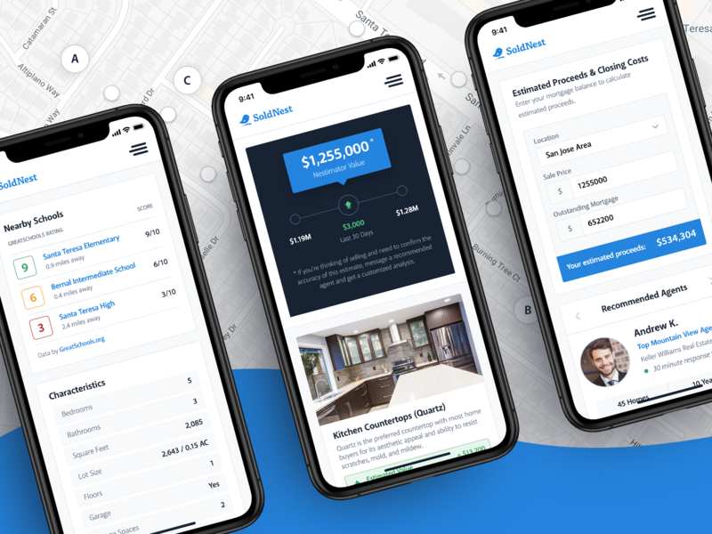SoldNest Mobile Showcase mockup iphone ios dashboard analysis property home app real estate app real estate interactive mobile app web website interface ux ui design