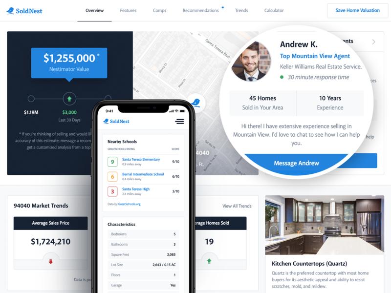 SoldNest Home Valuation Showcase property listing home app real estate marketing interactive mobile app web website interface ux ui design