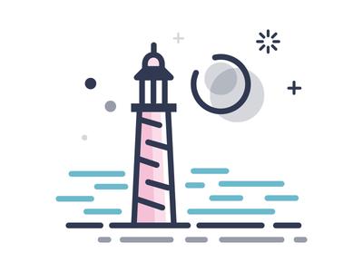 Ocean app illustration icon moon lighthouse ocean